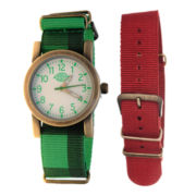 Dickies® Gold-Tone Green & Red Nylon Strap Watch