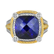 CLOSEOUT! Two-Tone Lab-Created Blue Sapphire & Diamond-Accent Ring