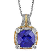 CLOSEOUT! Lab-Created Blue Sapphire & Diamond-Accent Pendant