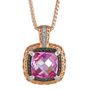 CLOSEOUT! Lab-Created Pink Sapphire & Diamond-Accent Pendant