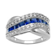 Lab-Created Blue & White Sapphire Wave Ring