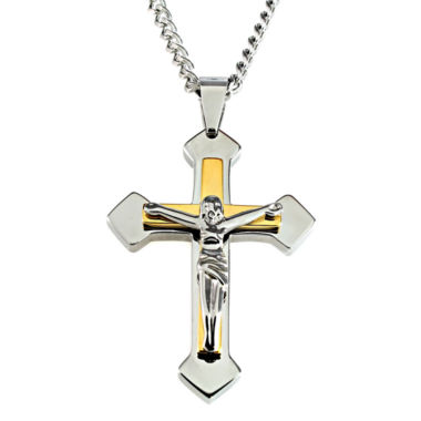 jcpenney.com | Mens Two-Tone Stainless Steel Crucifix Pendant Necklace