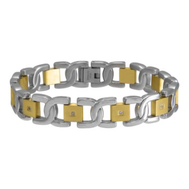 jcpenney.com | Mens 1/10 CT. T.W. Diamond Two-Tone Stainless Steel Bracelet