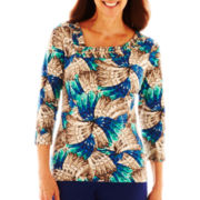 Lark Lane® Patch Works Asymmetrical-Neck Feather-Print Knit Top