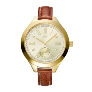 jcpenney.com | JBW Aria Womens Diamond-Accent Brown Leather Strap Watch J6309B