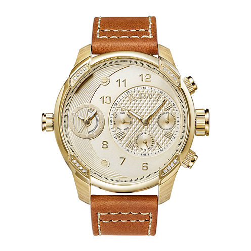 JBW G3 Mens Diamond-Accent Brown Leather Strap Watch J6325B