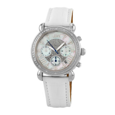 jcpenney.com | JBW Victory Womens 1/6 CT. T.W. Diamond White Leather Strap Watch JB-6210L-Q