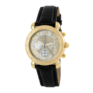jcpenney.com | JBW Victory Womens 1/6 CT. T.W. Diamond Black Leather Strap Watch JB-6210L-A