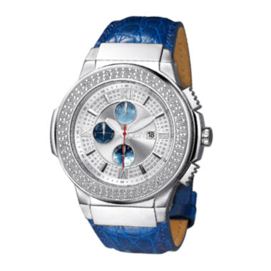 jcpenney.com | JBW Saxon Mens 1/6 CT. T.W. Diamond Blue Leather Strap Watch JB-6101L-G