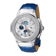 JBW Saxon Mens 1/6 CT. T.W. Diamond Blue Leather Strap Watch JB-6101L-G