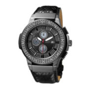 JBW Saxon Mens 1/6 CT. T.W. Diamond Black Leather Strap Watch JB-6101L-I