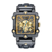 JBW Phantom Mens 2⅜ CT. T.W Diamond Square Black Leather Strap Watch JB-6215-238-F