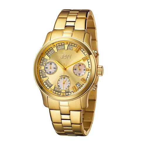 JBW Alessandra Womens 1/5 CT. T.W. Diamond Gold-Tone Stainless Steel Bracelet Watch JB-6217-E