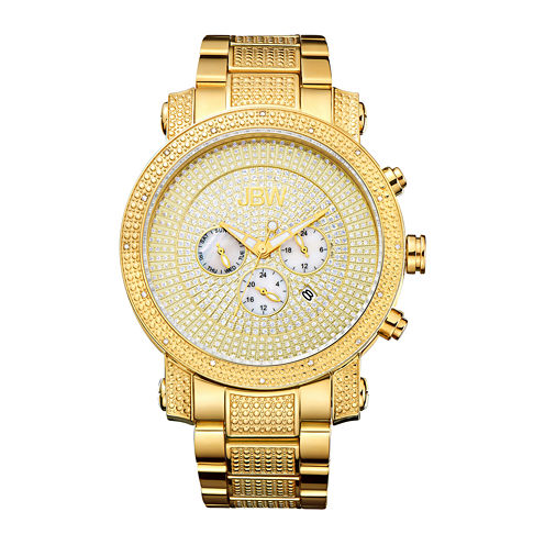 JBW Victor Mens Diamond- and Crystal-Accent Gold-Tone Stainless Steel Watch JB-8102-A