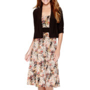 Perceptions Elbow-Sleeve Print Jacket Dress