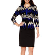 Danny & Nicole® 3/4-Sleeve Chevron Print Jacket Dress