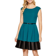 Tiana B. Sleeveless Faux-Leather Trim Fit-and-Flare Dress