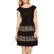 Tiana B. Cap-Sleeve Lace-Inset Fit-and-Flare Dress