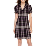 Jessica Howard Short-Sleeve Cowlneck Plaid Shift Dress
