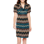Jessica Howard Short-Sleeve Cowlneck Chevron Print Shift Dress