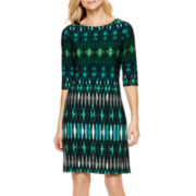 Studio 1® 3/4-Sleeve Geometric Print Shift Dress