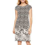 R&K Originals® Cap-Sleeve Textured Shift Dress