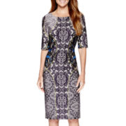 Danny & Nicole® Elbow-Sleeve Print Scuba Sheath Dress