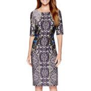 Danny & Nicole® Elbow-Sleeve Print Scuba Sheath Dress