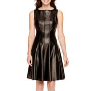 Danny & Nicole® Sleeveless Faux-Leather Fit-and-Flare Dress