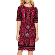 R&K Originals® 3/4-Sleeve Print Sheath Dress