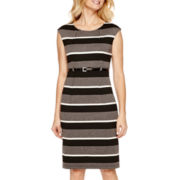 R&K Originals® Sleeveless Belted Striped Ponte Sheath Dress