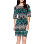 Perceptions Elbow-Sleeve Aztec Print Shift Dress