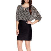 Danny & Nicole® 3/4-Sleeve Geometric Print Blouson Dress