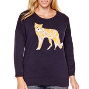 Stylus™ 3/4-Sleeve Intarsia Sweater - Plus