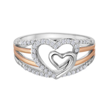 jcpenney.com | ForeverMine® 1/5 CT. T.W. Diamond Two-Tone Double-Heart Ring