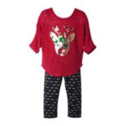 Pinky Reindeer Top and Leggings Set - Preschool Girls 4-6x