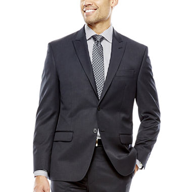 Collection by Michael Strahan Black Herringbone Suit ...