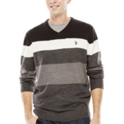 U.S. Polo Assn.® Striped V-Neck Sweater