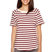 Liz Claiborne® Short-Sleeve Striped T-Shirt - Petite