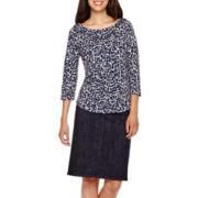 Liz Claiborne® Boatneck Striped T-Shirt or Midi A-Line Denim Skirt - Petite