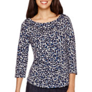 Liz Claiborne® 3/4-Sleeve Boatneck T-Shirt