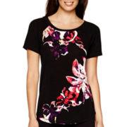 Liz Claiborne® Short-Sleeve Floral Print T-Shirt - Tall