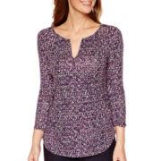 Liz Claiborne® 3/4-Sleeve Floral Print Split-Neck T-Shirt