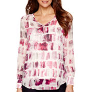 Liz Claiborne® Long-Sleeve V-Neck Popover Shirt