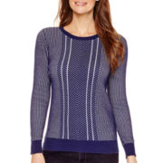 Liz Claiborne® Long-Sleeve Double-Knit Sweater