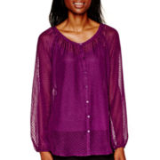 Liz Claiborne® Long-Sleeve Clip-Dot Blouse