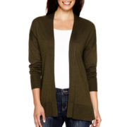 Liz Claiborne® Long-Sleeve Split-Hem Open-Front Cardigan