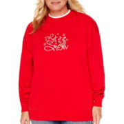 MCCC Sportswear Long-Sleeve Let It Snow Holiday Fleece Sweatshirt - Plus