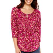 St. John's Bay® 3/4-Sleeve Pintuck Peasant Top