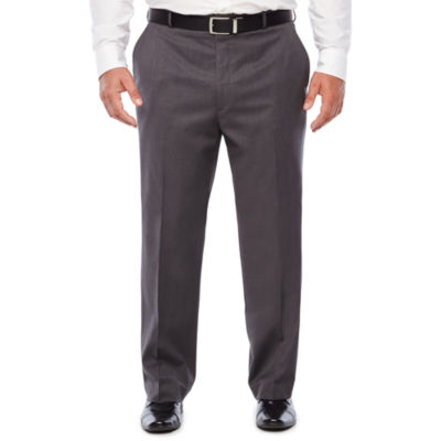 Stafford Medium Grey Travel Woven Suit Pants-Classic Fit